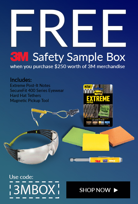 Receive a free 3M Safety Sample Box with your purchase of $250 or more in 3M products.