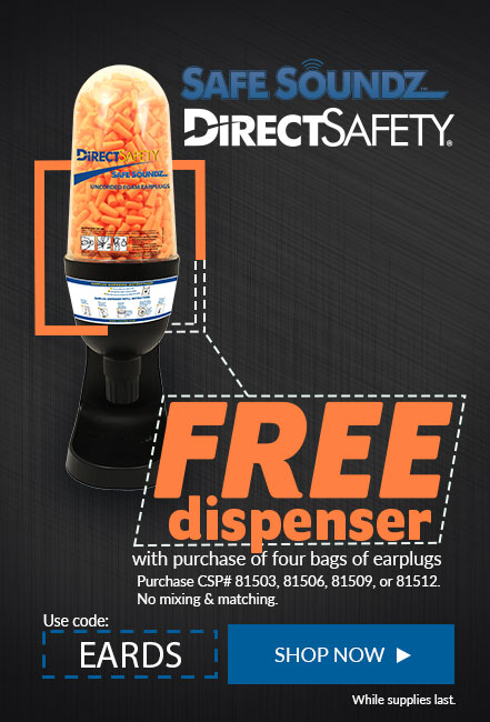Receive a free dispenser with your purchase of 4 qualifying bags of earplugs.