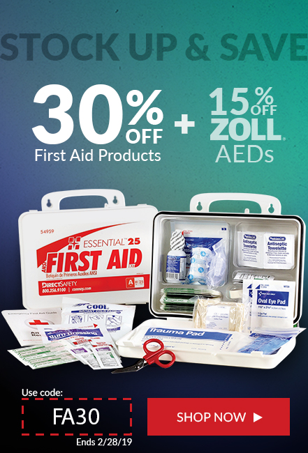 30% off first aid, 15% off zoll Aeds