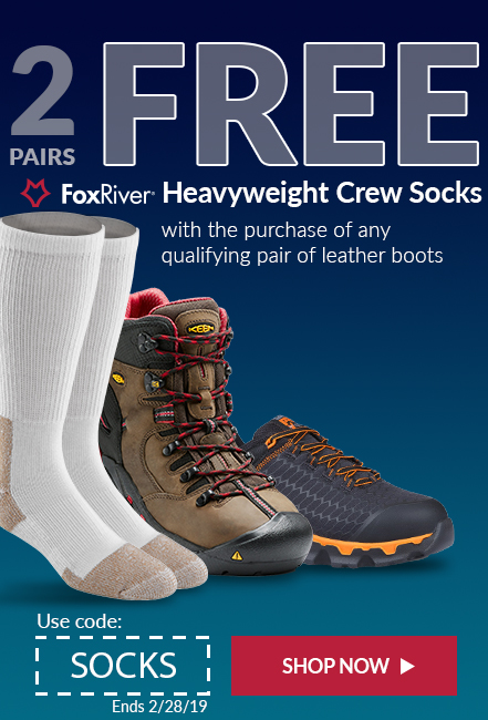 Free Heavyweight socks with purchase of qualifying leather boots.