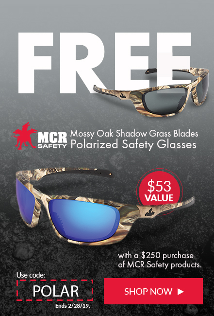 Receive a free dispenser pair of MCR Safety glasses when your purchase $250 ior more in MCR Safety Products.