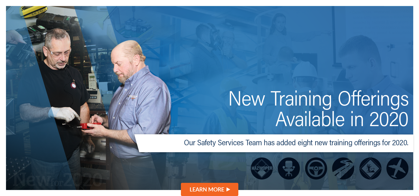 Our Safety Services Team have added New Trainings for 2020.