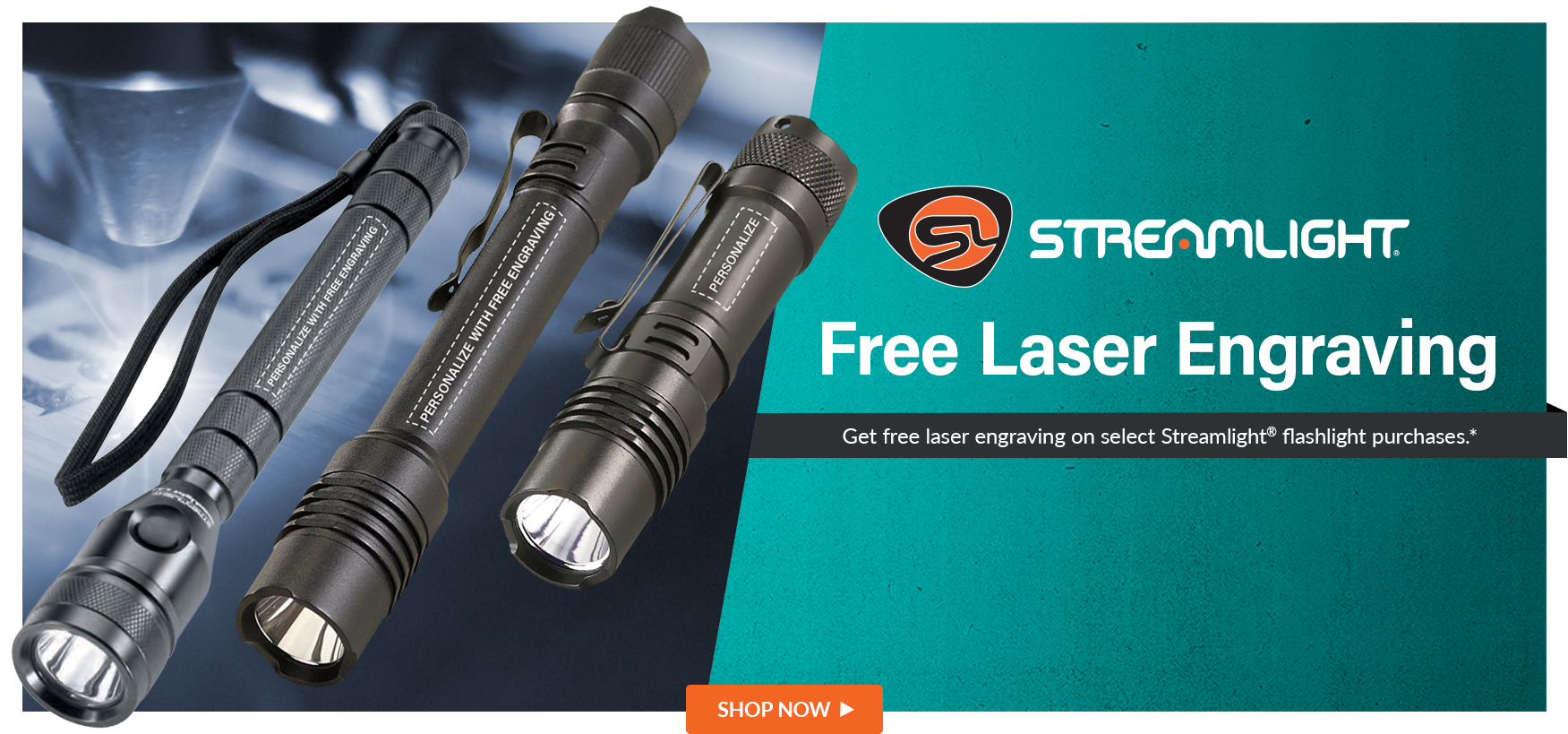 Free Engraving on Select Streamlight Flashlights, minimum order required