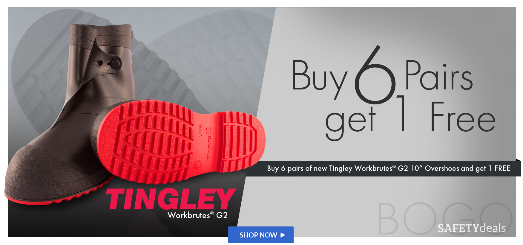 Buy 6 pairs of Tingley Workbrutes overshoes and get 1 Free